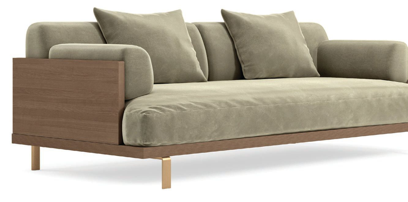 The Maria sofa features a wooden frame and velvety soft fabric. PHOTO COURTESY OF ROVE CONCEPTS