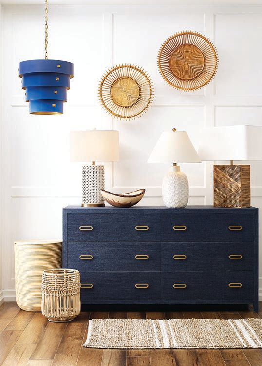 Mitchell Gold   Bob Williams rattan pieces and Ariel six-drawer chest PHOTO COURTESY OF BRAND