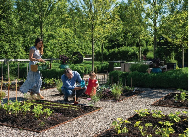 A Sagaponack family enjoys a vegetable garden designed by LaGuardia Design Group PHOTO COURTESY OF LAGUARDIA DESIGN GROUP