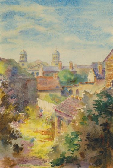 "Alice Ravenel Huger Smith, ""House Tops: View from 69 Church Street"" (watercolor on paper)"