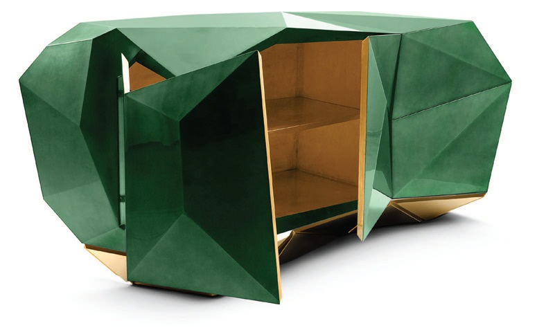 """""""This console is the very definition of a conversation piece. The faceting is fascinating and adds a bit of cheekiness to the space."""" Boca do Lobo diamond emerald sideboard, bocadolobo.com PHOTO COURTESY OF BRANDS"""