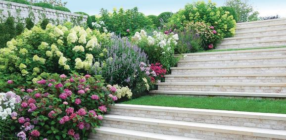 """""""These neat masonry stairs are very grand, so I softened them with terraced landings and overflowing blooms with soft silhouettes like hydrangeas."""" PHOTO COURTESY OF FREDERICO AZEVEDO"""