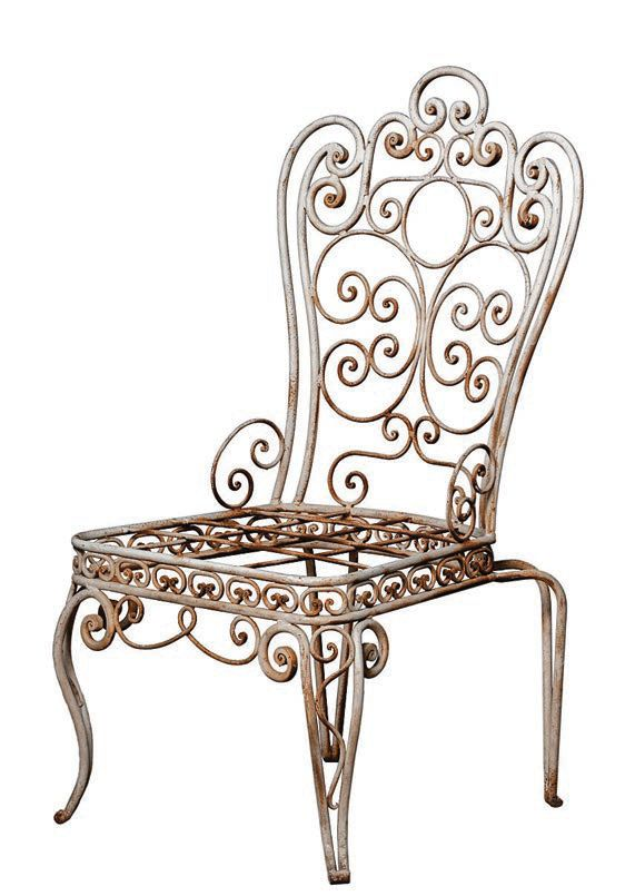 """""""At FOUND, we love vintage and antiques. These white wroughtiron dining chairs are a little prissy in just the right way. They would be perfect on a covered patio."""" Vintage metal garden chairs, foundforthehome.com PHOTO COURTESY OF BRANDS"""