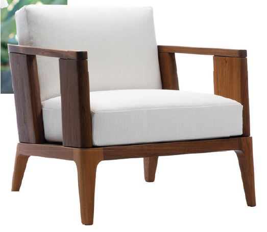 """""""The Malibu collection of outdoor seating has an interior lounge feel yet is exterior grade. Its clean lines, warm wood tones and slight angular silhouette create a modern look."""" Joseph Jeup Link Malibu lounge chair, to the trade, johnbrooksinc.com PHOTO COURTESY OF BRANDS"""