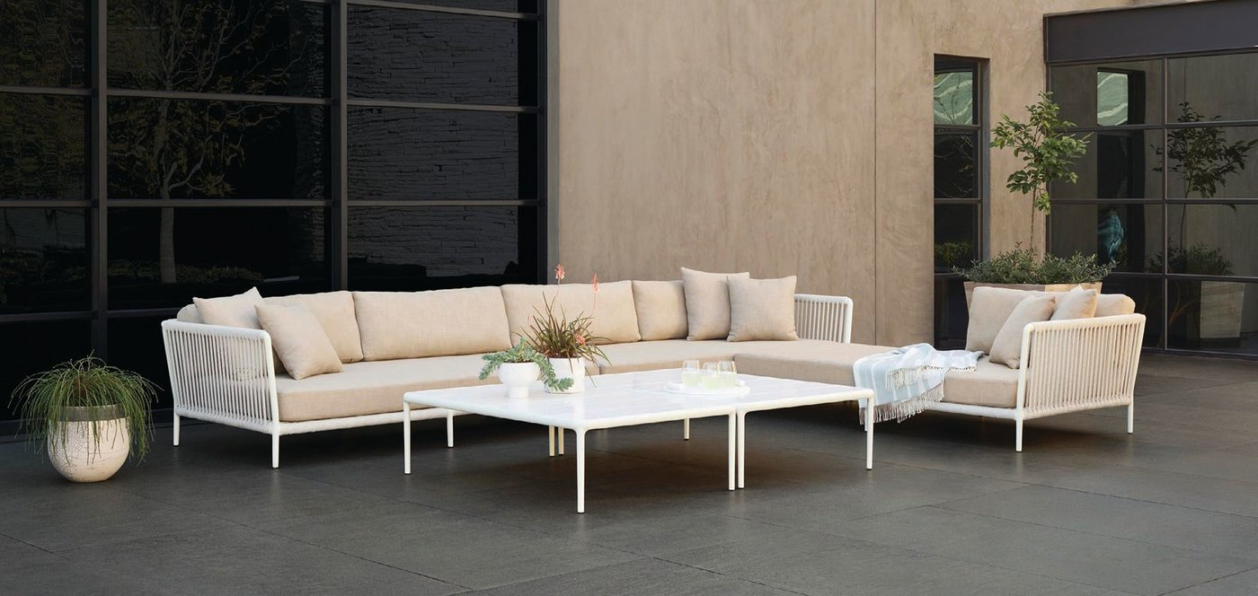 Shown in Bone and White Sands, the Otti Modular left-arm and right-arm sectional sofas are paired with the left-arm sectional chaise PHOTO COURTESY OF SUTHERLAND FURNITURE